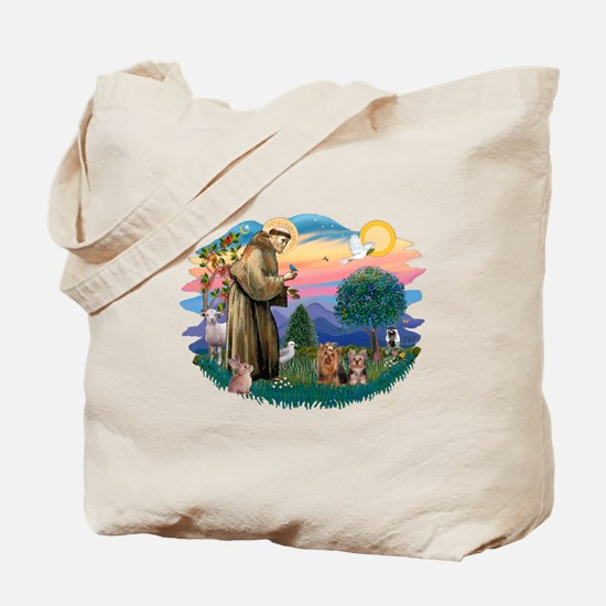 St Francis / 2 Yorkshire Terriers Tote Bag