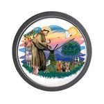 St Francis / 2 Yorkshire Terriers Wall Clock