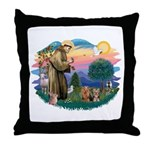 St Francis / 2 Yorkshire Terriers Throw Pillow