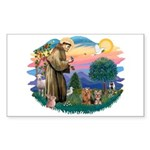 St Francis / 2 Yorkshire Terriers Sticker (Rectang