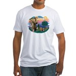 St Francis / 2 Yorkshire Terriers Fitted T-Shirt