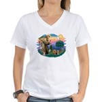 St Francis / 2 Yorkshire Terriers Women's V-Neck T