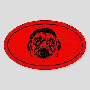 PUG icon Vintage Oval Sticker