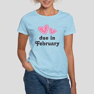 Pink Heart February Due Date Women's Light T-Shirt