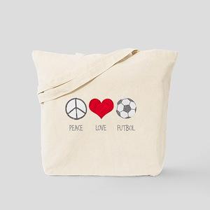Peace Love Futbol Tote Bag