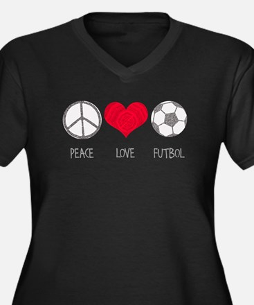 Peace Love Futbol Women's Plus Size V-Neck Dark T-