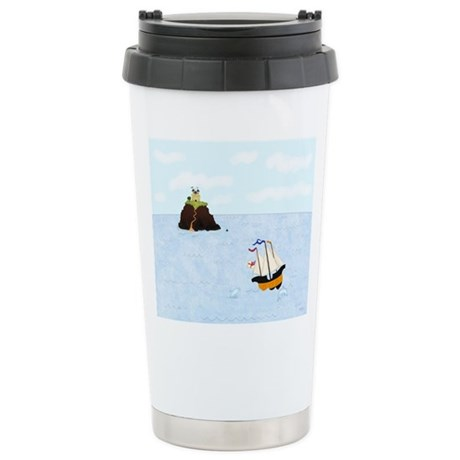 Sailing by the Castle Stainless Steel Travel Mug