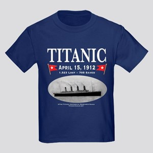 Titanic Ghost Ship (white) Kids Dark T-Shirt