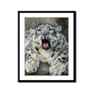 Snow Leopard Framed Panel Print