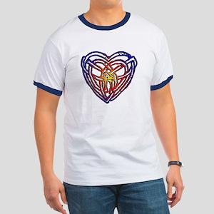 Rainbow Celtic Heart Ringer T