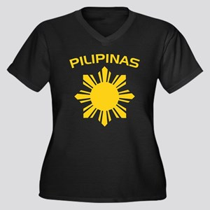 Philippines and Star Women's Plus Size V-Neck Dark