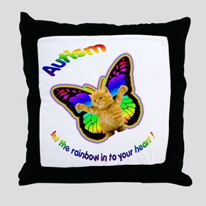 Autism let the rainbow in to Throw Pillow