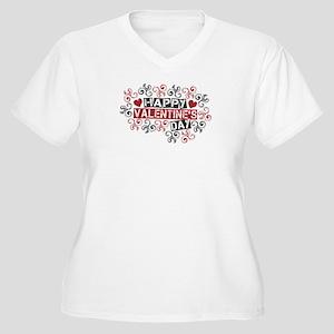 Happy Valentine's Day Women's Plus Size V-Neck T-S