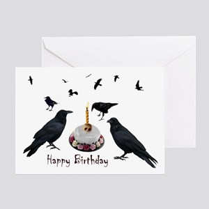 Crows Skull Cake Greeting Card