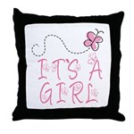 Pink Butterfly It's A Girl Throw Pillow