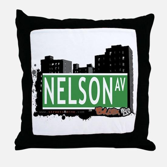 Nelson Av, Bronx, NYC Throw Pillow