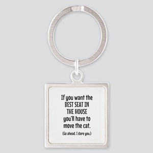 Funny Cat Square Keychain