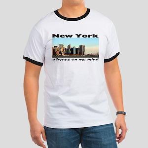 "NEW YORK ""Always on my mind"" skyline Ringer T"