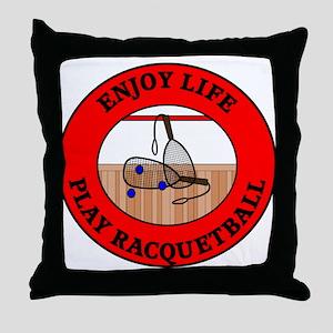 Enjoy Life Play Racquetball Throw Pillow