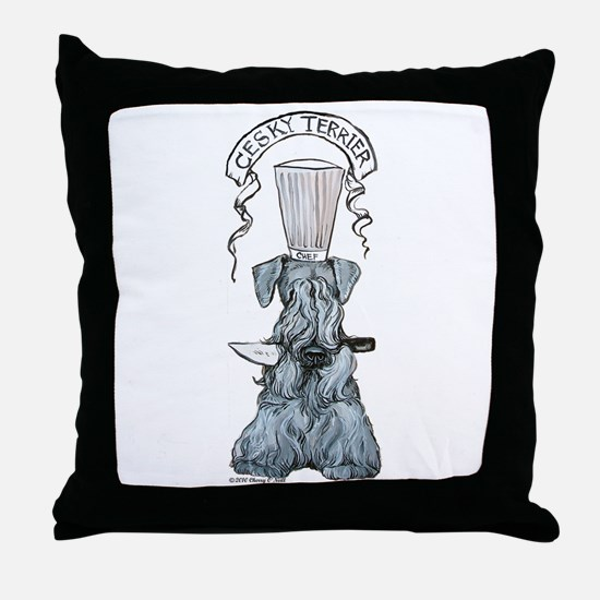 Cesky Terrier Chef Throw Pillow