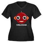 Robot Women's Plus Size V-Neck Dark T-Shirt