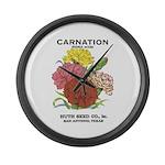 Vintage Carnation Seed Label Large Wall Clock