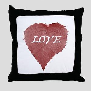 Leafy Heart Throw Pillow