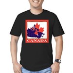 Canada Map with Maple Leaf Ba Men's Fitted T-Shirt