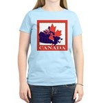 Canada Map with Maple Leaf Ba Women's Light T-Shir