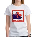 Canada Map with Maple Leaf Ba Women's T-Shirt