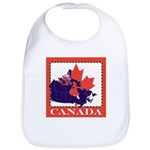 Canada Map with Maple Leaf Ba Bib