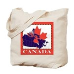 Canada Map with Maple Leaf Ba Tote Bag