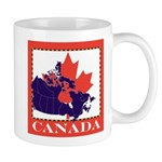 Canada Map with Maple Leaf Ba Mug