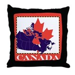 Canada Map with Maple Leaf Ba Throw Pillow
