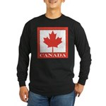 Canada with Red Maple Leaf Long Sleeve Dark T-Shir