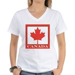 Canada with Red Maple Leaf Women's V-Neck T-Shirt