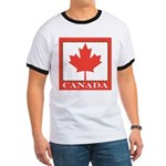 Canada with Red Maple Leaf Ringer T