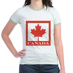 Canada with Red Maple Leaf Jr. Ringer T-Shirt