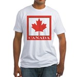 Canada with Red Maple Leaf Fitted T-Shirt