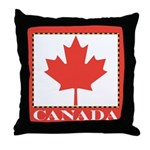 Canada with Red Maple Leaf Throw Pillow