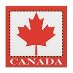 Canada with Red Maple Leaf Tile Coaster