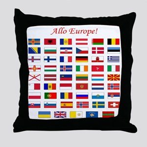 European Continent Flags Throw Pillow