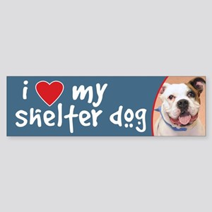 I Love My Shelter Dog Bulldog Bumper Sticker