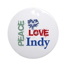 Peace Love Indy Ornament (Round)