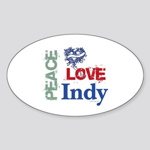 Peace Love Indy Bumper Sticker (Oval)
