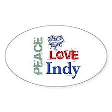 Peace Love Indy Bumper Sticker (Oval)