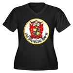 USS BUCHANAN Women's Plus Size V-Neck Dark T-Shirt