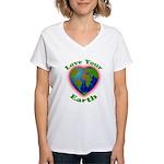 Love Your Earth Heart Women's V-Neck T-Shirt