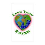 Love Your Earth Heart Sticker (Rectangle 50 pk)