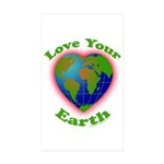 Love Your Earth Heart Sticker (Rectangle 10 pk)